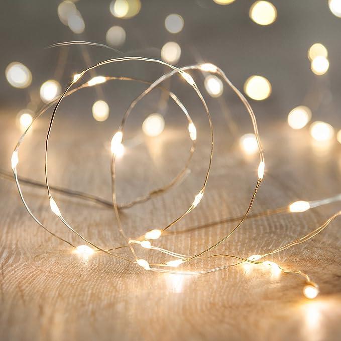 Guirnalda de luces con 50 Micro LED de luz Blanca Cálida, para ambientar bodas, fiesta de navidad.
