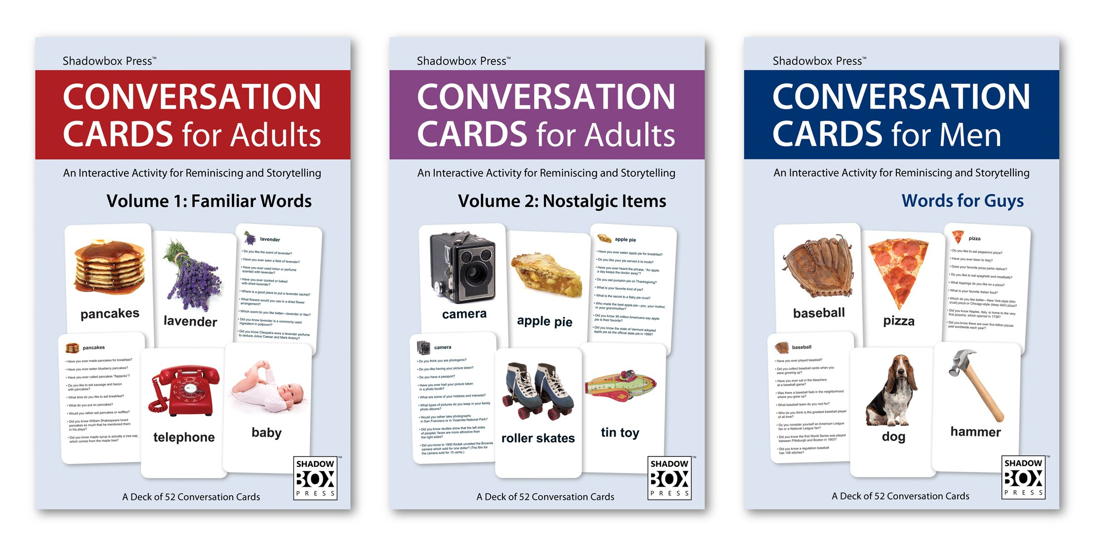 Conversation Cards – Three-Deck Set – Reminiscence Activity for Alzheimer's / Dementia / Memory Loss Patients and Caregivers
