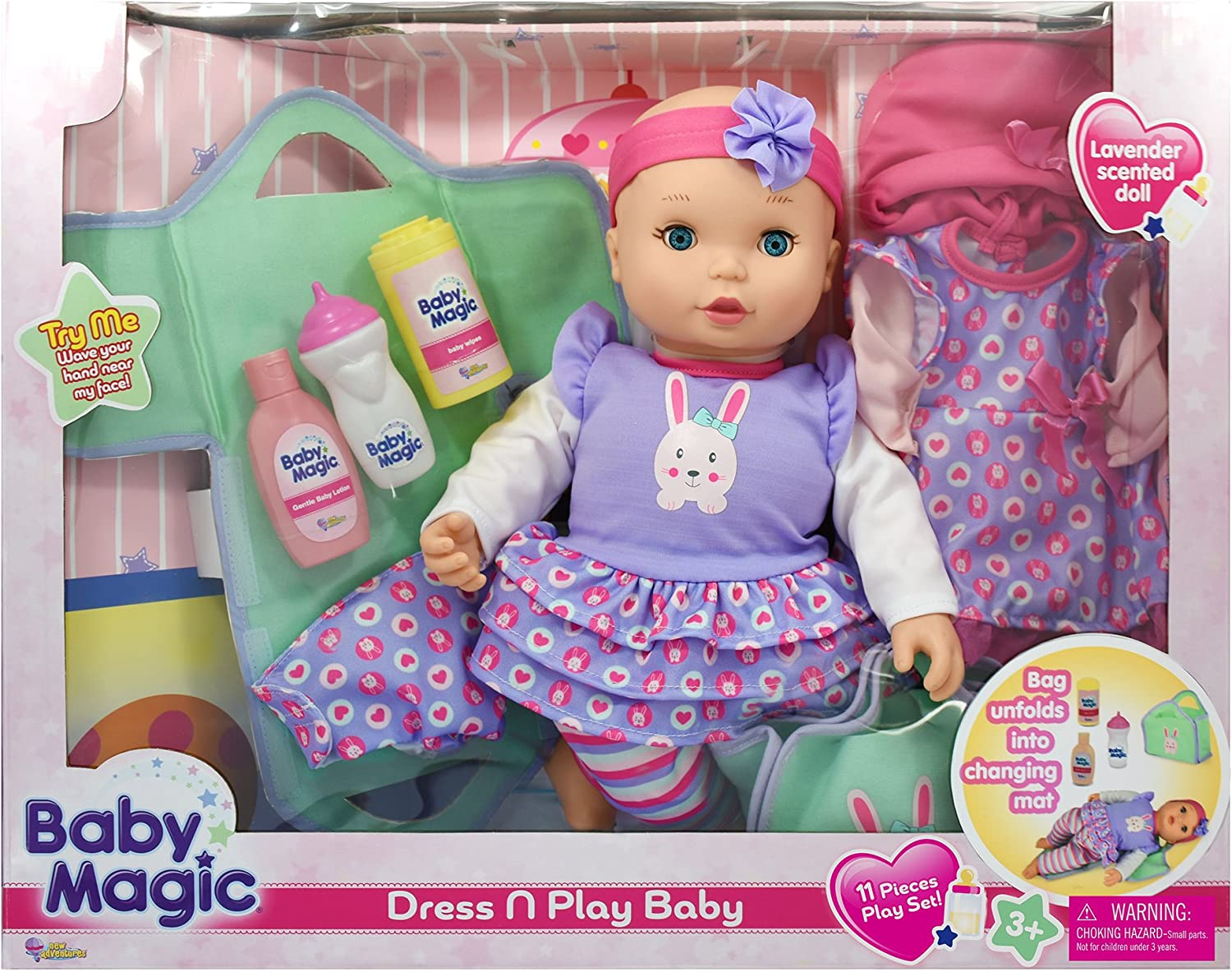 """DOLL CLOTHES BABY DOLL 11/"""" DRESS SET LOVE AND KISSES PRINT"""