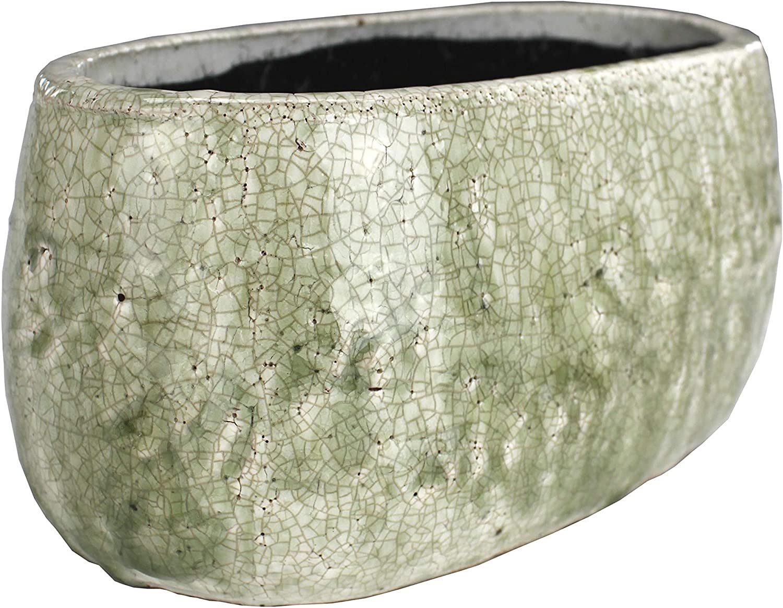 DARO DEKO Pflanztopf flach aus Keramik braun mit Goldrand