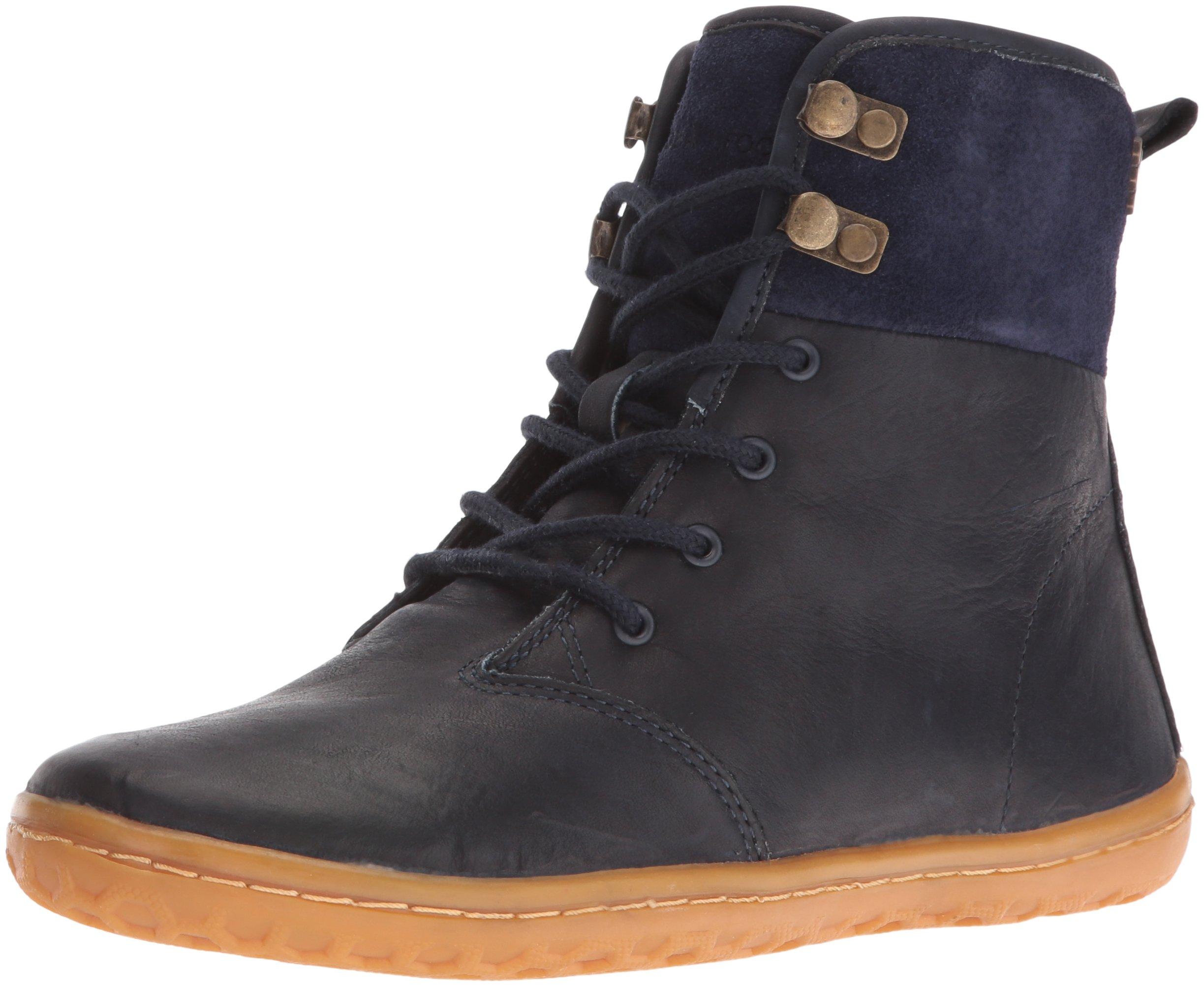 Vivobarefoot Women's Gobi Hi Top l Leather Walking Shoe, Navy/Hyde, 36 EU/6 M US