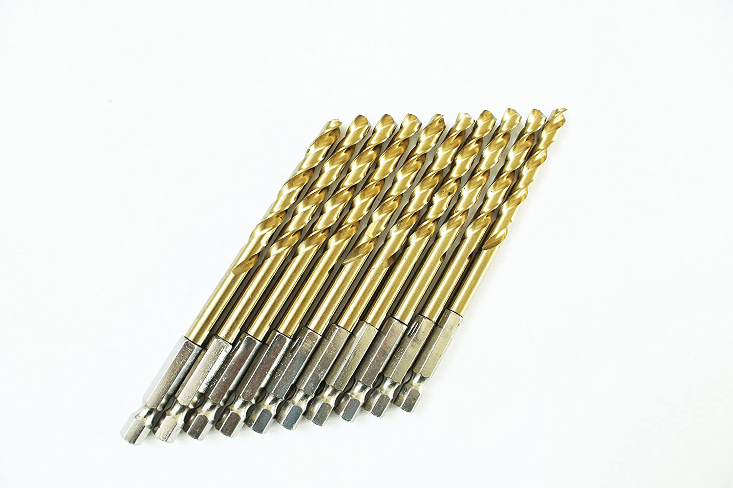 Aluminum Split Point,Drilling Mild Steel 5Pcs Pack 1//2 Inch HSS Titanium Nitride Coated Jobber Length Drill Bit Hex Shank 135 Point Deg Pack in Plastic Bag Max-Power Tools Copper Zinc Alloy.