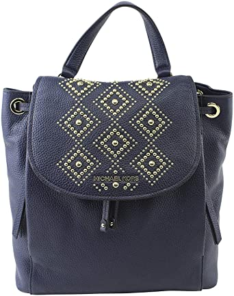 de3448591bfc Amazon.com | Michael Kors Riley Large Leather Backpack Navy ...