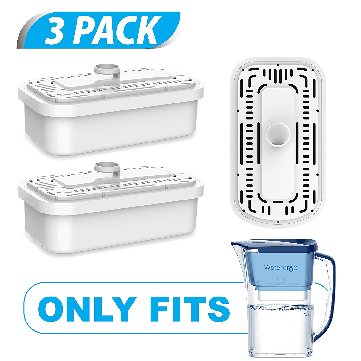 Waterdrop Replacement Filters for WD-PT-03 Water Filter Pitcher ACF Filtration System, Last Up to 9 Months (Pack of 3)