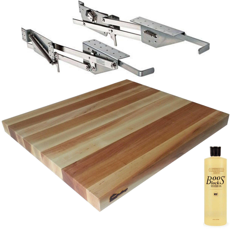 Rev-A-Shelf RAS-ML-HDCR Full Height Base Cabinet Heavy Duty Mixer Lift - Includes 1-1/2''x18''x21'' Shelf Platform for 24'' width Base Cabinet - Maple Butcher Block - w John Boos Mystery Oil 16 oz Bottle