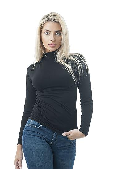 74d446e2a55 Khanomak Women s Long Sleeve High Neck Plain One Size Top (OneSize ...