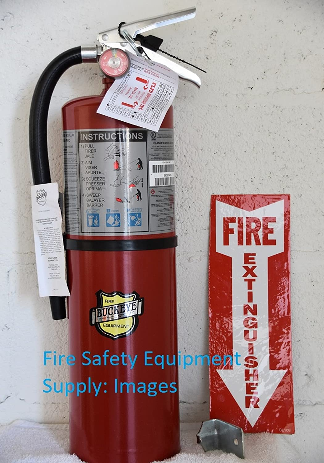 ( Lot of 2 ) Buckeye 10 LB. ABC Fire Extinguisher - Rechargeable and Certified (Tagged) Ready for Fire Inspections, Wall Hook Bracket, and Arrow Sign Included to Mark the Spot UL Rating 4A - 80 B:C 11340-2