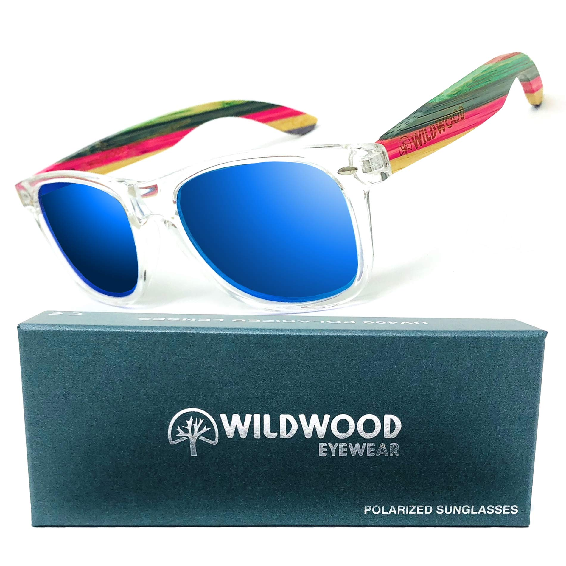 Wildwood Summer Bamboo Clear Wayfarer Polarized Sunglasses for Women (Blue Mirror)