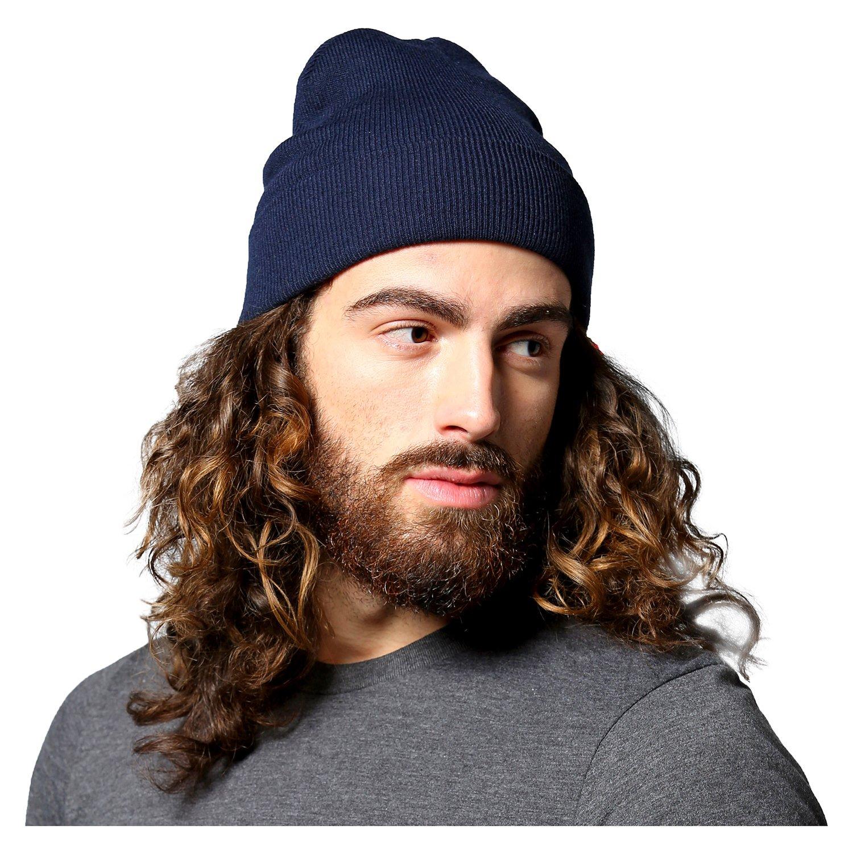 Berretto in maglia con risvolto grigio//nero uomo