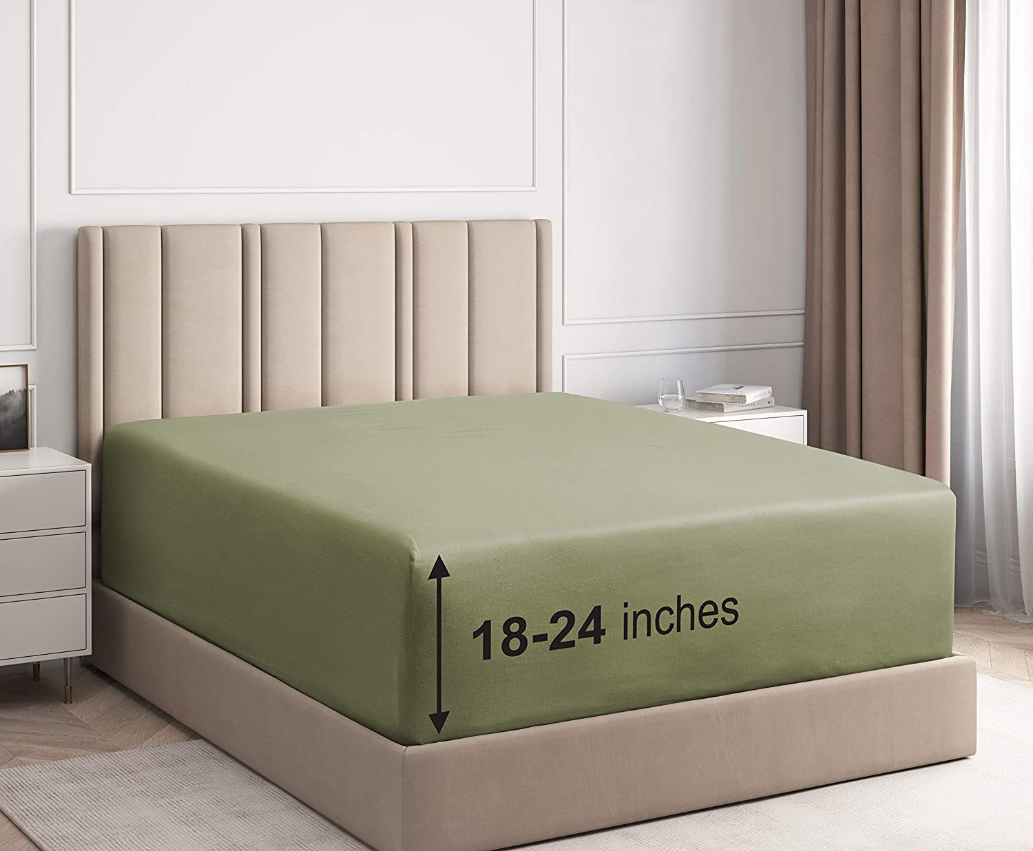 Extra Deep Pocket Fitted Sheet - Single Fitted Sheet Only - Extra Deep Pockets King Size Sheets - Fits 18 In to 24 In Mattress - Extra Deep King Fitted Sheet - Deep Pockets that Actually Fits Mattress: Home & Kitchen