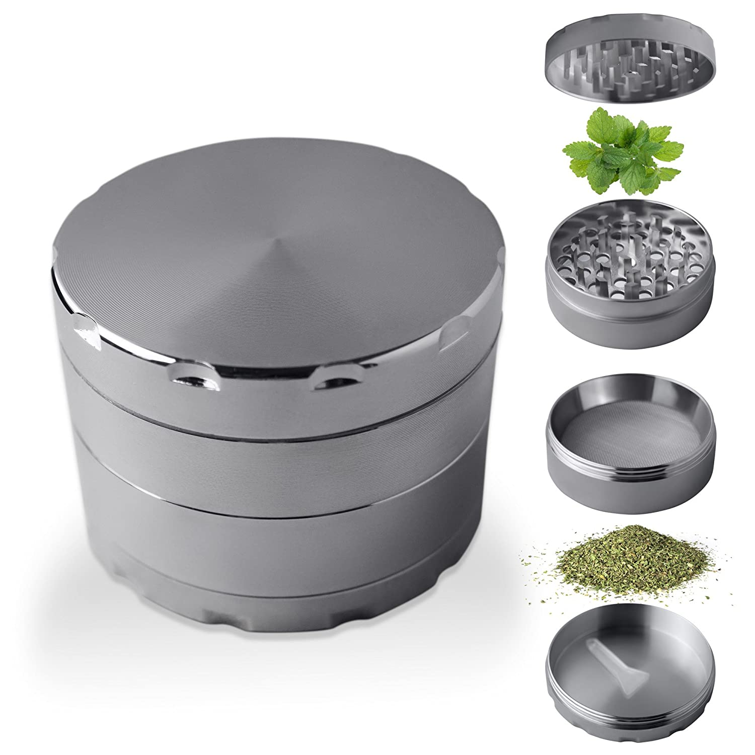 Premium Quality Herb Spice Tobacco Grinder with Pollen Catcher | Crusher crushes cereals coffee herbs grass |Consisting of 4 parts with lid with a strong magnet sharp shaped teeth pollen catcher and collecting tray