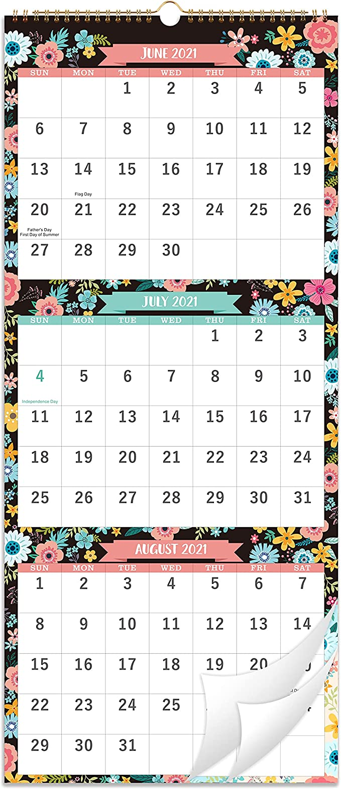 3 Month Calendar 2022.Amazon Com 2021 2022 Calendar 3 Month Display Wall Calendar Folded In One Month 11 3 X 26 When Opened June 2021 August 2022 Vertical Calendar With Thick Paper For Daily Organizing Planning Office Products