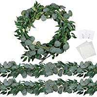 Trimgrace 2 Pack 6.5 Feet Artificial Silver Dollar Eucalyptus Leaves Garland with Willow Vines Twigs Leaves for Wedding…