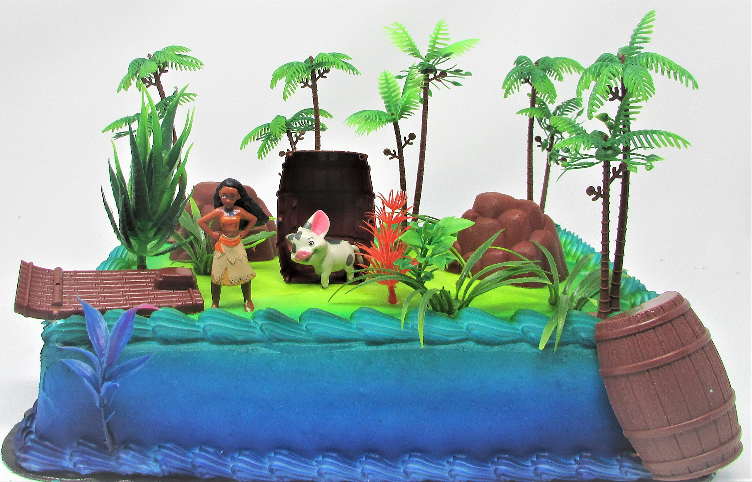 Moana Tropical Themed Birthday Cake Topper Set Featuring Moana Figure and Decorative Accessories