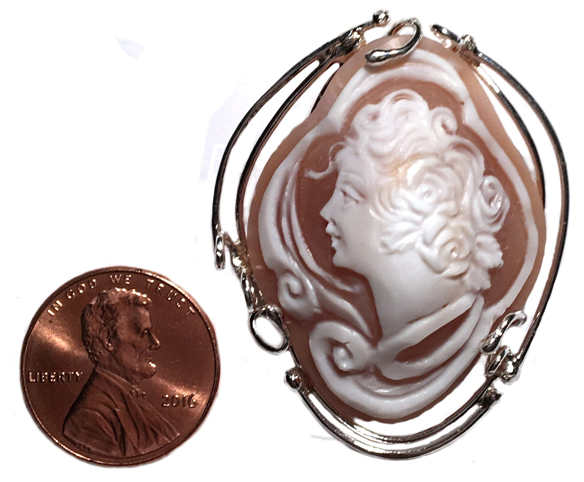 Cameo Brooch Pendant Enhancer Master Carved, Conch Shell Italian Sterling Silver Summer Dream by cameosRus (Image #5)