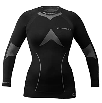 wisser Camiseta Térmica de Manga Larga Para Mujer, mujer, negro, medium, ropa interior termoactiva: Amazon.es: Deportes y aire libre