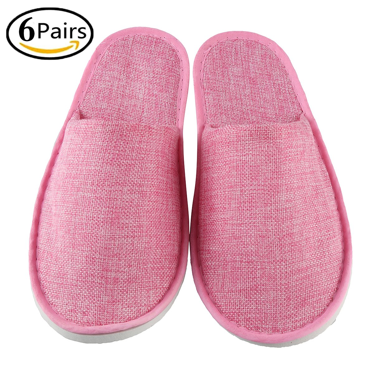 Xiaofeisi Spa Slippers 6 Pairs Unisex Comfortable Closed Toe Non-Slip Disposable Slippers for Men & Women, Perfect for Home, Hotel Or Commercial Bulk Use Linen Pink