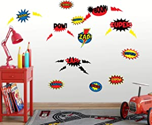 Superhero Wall Decals for Boys Room Decor Comic Words ZAP! Bang! Boom!Kids Bedroom Wall Decor StickersPlayroom, Birthday Party Present Decoration Art Gift