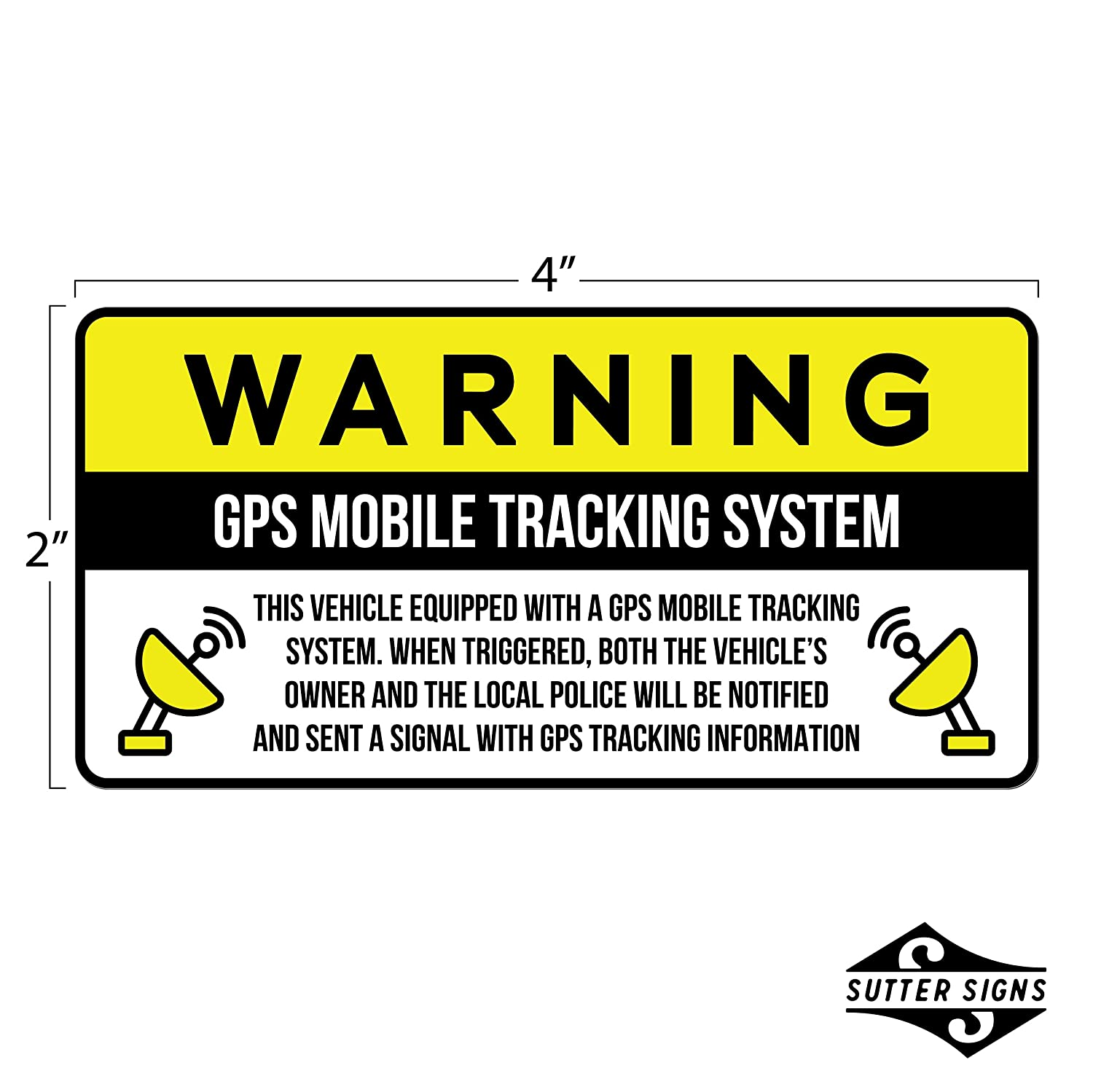 Amazon com anti theft car vehicle stickers with gps tracking warning pack of 6 decals automotive