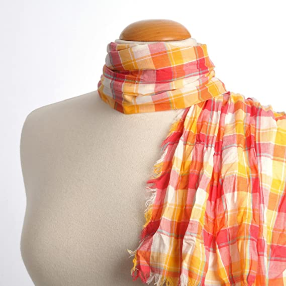 Allée du foulard Echarpe Madras pur coton ORANGE FUCHSIA  Amazon.fr ... 72f62f7f494