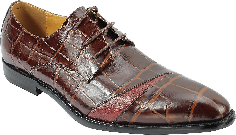 Real de Cuero Genuino de la Piel de cocodrilo marrón Nuevo XPOSED Hombres de Efecto Inteligente Vestido de Encaje hasta los Zapatos