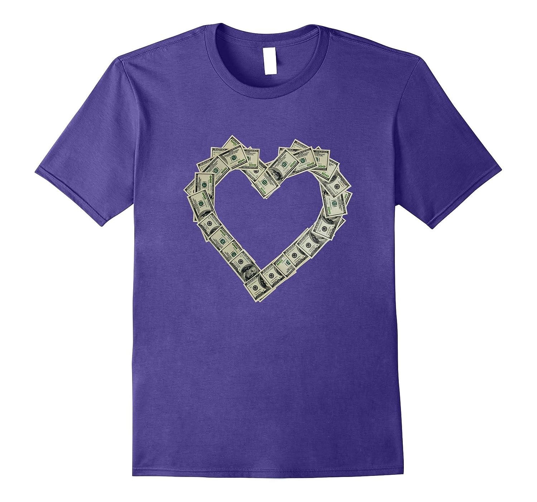 Money T Shirt Love Heart Fun Us Dollar Bill Cool Finance Tee Tj Theteejob
