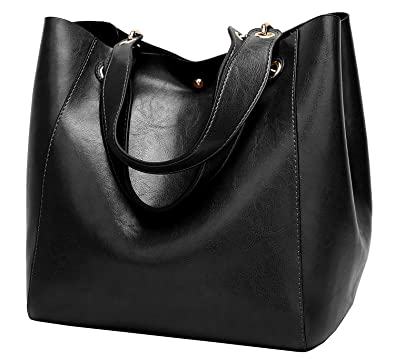 eaea0fe0d83a Amazon.com  Halemet Women PU Leather Big Shoulder Bag Purse Satchel Handbag  Tote Bags  Shoes