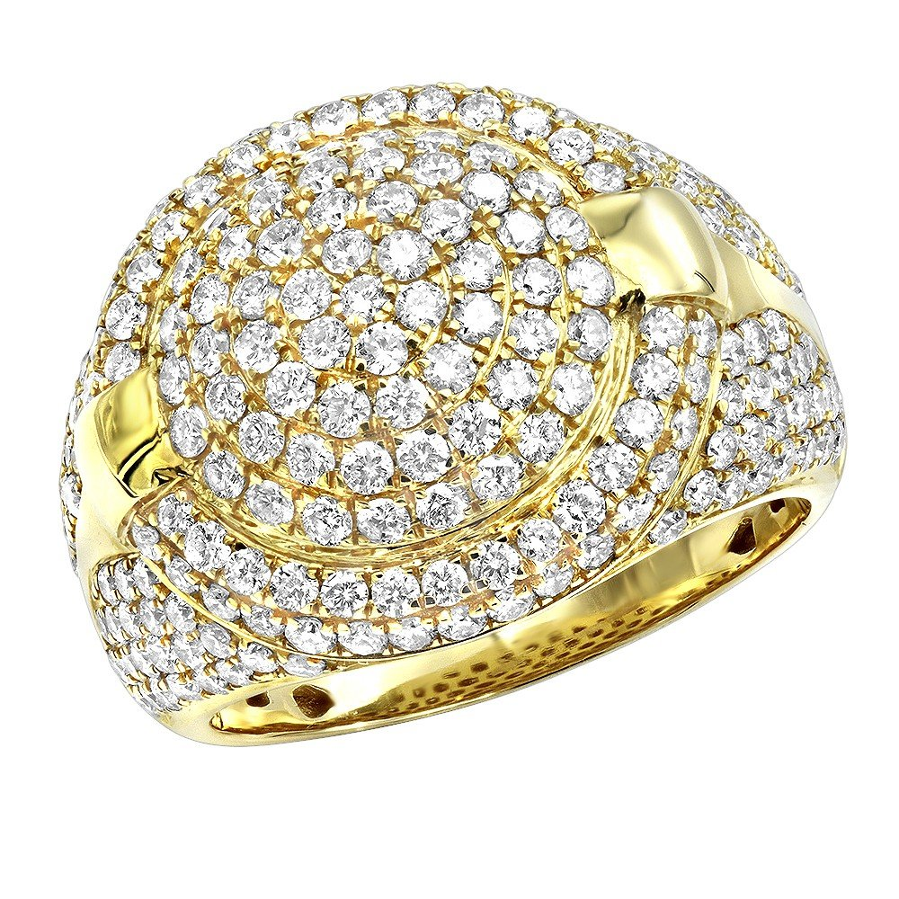 Jalash 2.5CT 14K Yellow Gold FN Cz Diamonds Mens Pinky Ring with White Cz Prong Set