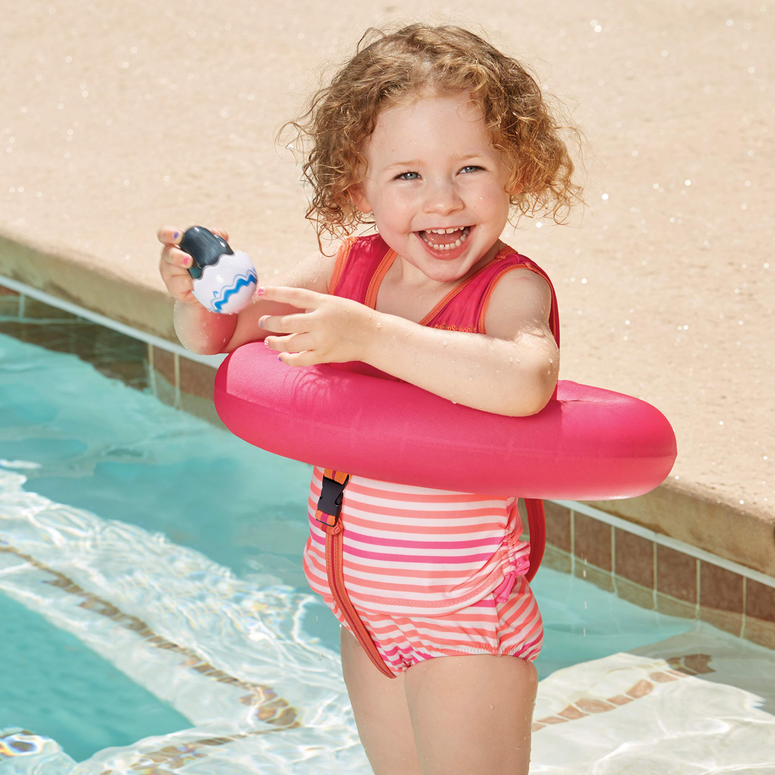 SwimSchool Deluxe TOT Swim Trainer Vest, Heavy Duty, Inflatable Tube with Adjustable Safety Strap, 2-4 Years, Raspberry/Pink by SwimSchool (Image #2)