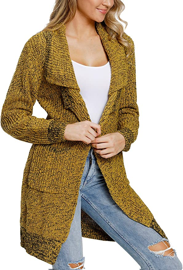 Levas Women Casual Chunky Wide Long Sleeve Knit Cardigan No Buttons S-2XL