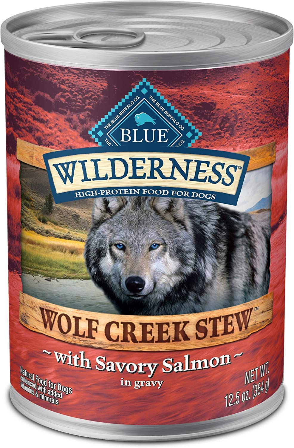 Blue Buffalo Wilderness Wolf Creek Stew High Protein, Natural Wet Dog Food, Savory Salmon Stew in gravy 12.5-oz cans (Pack of 12)