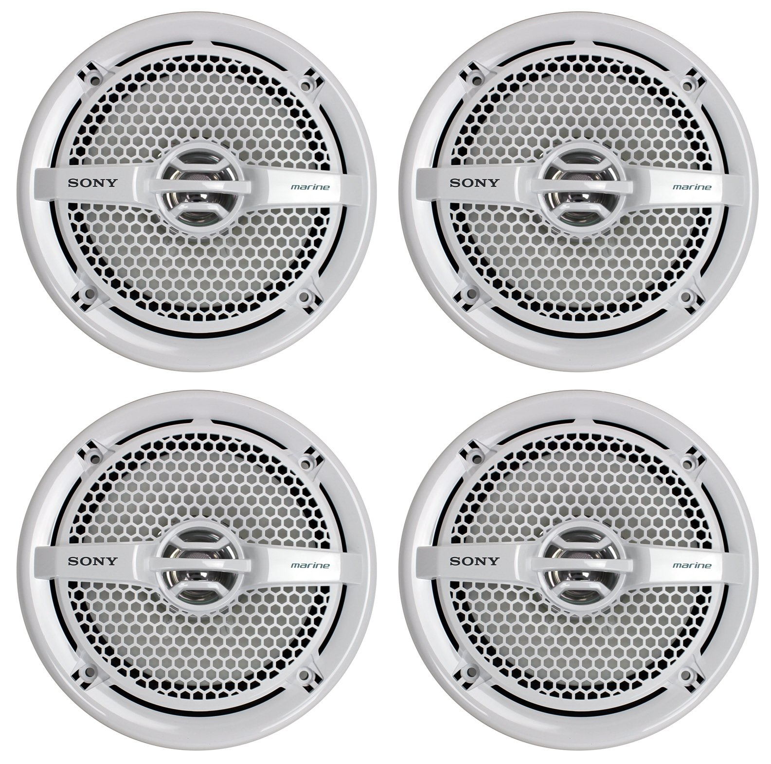 Sony 4 XS-MP1611 6.5'' 280 Watt Dual Cone Marine Speakers Stereo White XSMP1611 by Sony