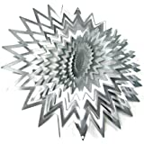 """WorldaWhirl Whirligig 3D Wind Spinner Hand Painted Stainless Steel Twister Star (11"""" Inch, Silver)"""