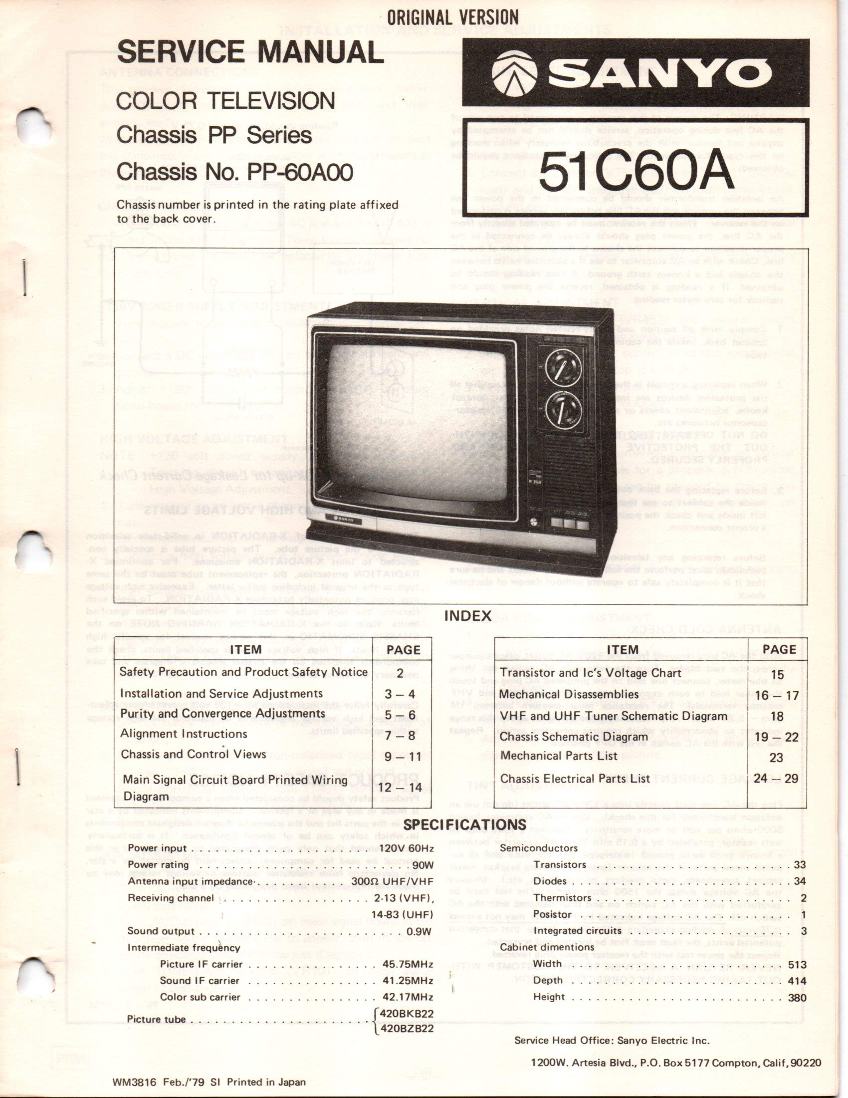 Service Manual for Sanyo 51C60A, 51C60N Color Television TV