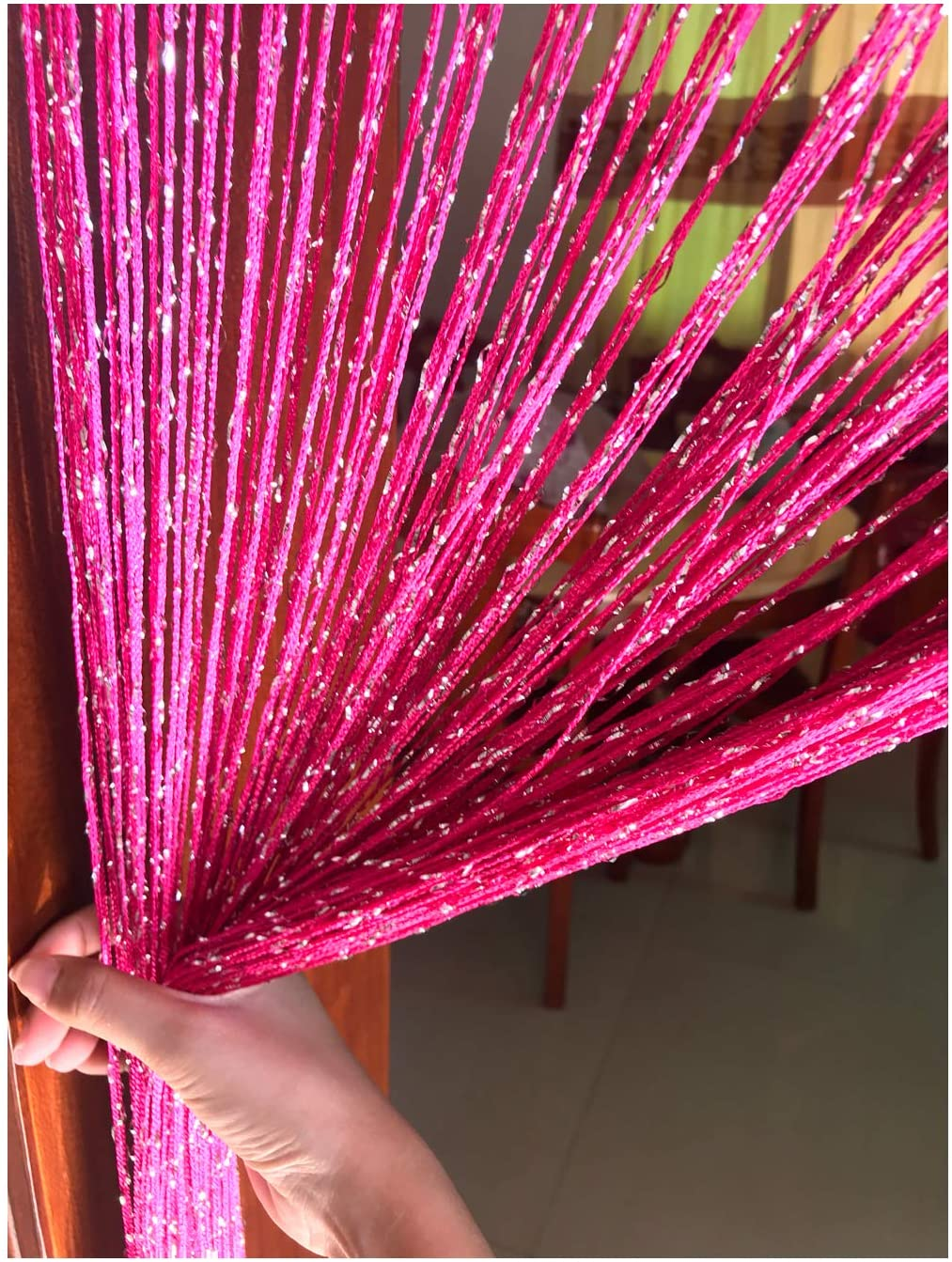 Eyotool 1x2 M Door String Curtain Rare Flat Silver Ribbon Thread Fringe Window Panel Room Divider Cute Strip Tassel for Wedding Coffee House Restaurant Parts, Rose Red