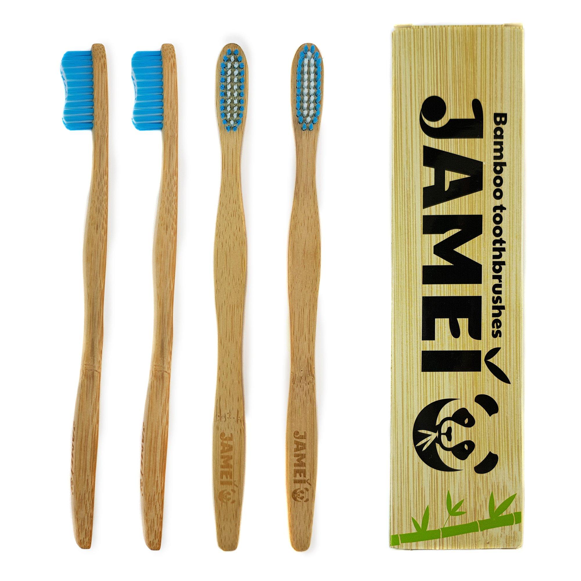 Bamboo Toothbrush Biodegradable Natural Handle, BPA Free Nylon Medium Bristles 4 Pack by Jamei - We Plant Trees