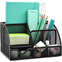 GDinDinFan Mesh Desk Organizer Pen Holder Accessories Storage Caddy with 6 Compartments and Drawer, Black