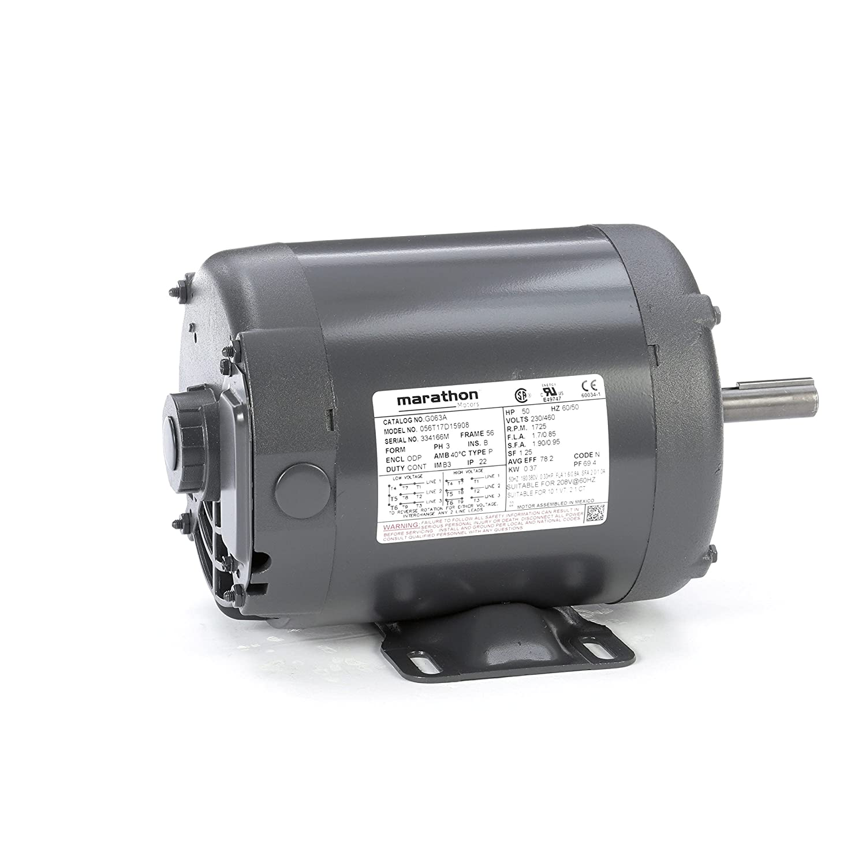Marathon G063 General Purpose Motor, 1/2 hp, 1800 RPM, 208-230/460V, 2.1-2.2/1.1 amp
