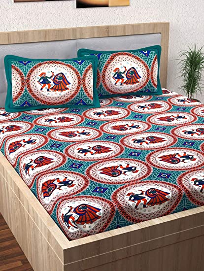 636cb86e1d Story@Home Pearl Rajasthani Jaipuri Collection 100% Cotton Double Bedsheet  with 2 Pillow Covers, 120 TC - Traditional Pattern (Blue): Amazon.in: Home  & ...