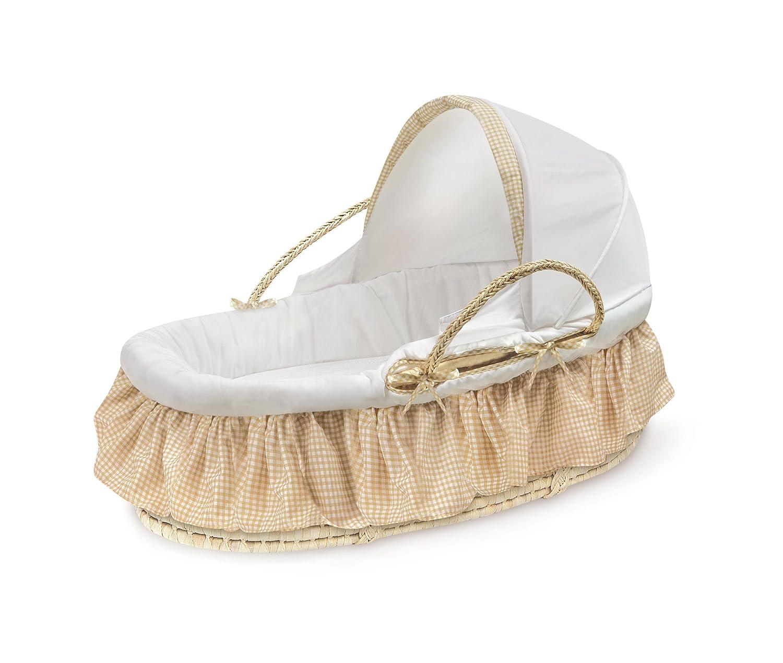 Badger Basket 97003 Natural Moses Basket with Fabric Canopy - Beige Gingham Bedding Badger Basket Company