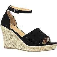 4ff0ac6bc08e7c MVE Shoes Women s Medium Espadrille Open Wedge Criss Cross Straps-Fashion  Wedges