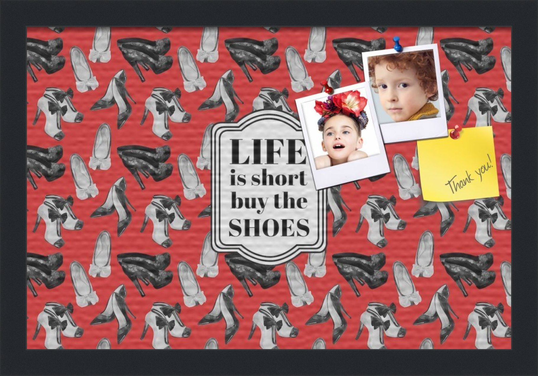 PinPix custom printed pin cork bulletin board made from canvas, Buy The Shoes 18x12 Inches (Completed Size) and framed in Satin Black (PinPix-Group-55) by PinPix (Image #1)
