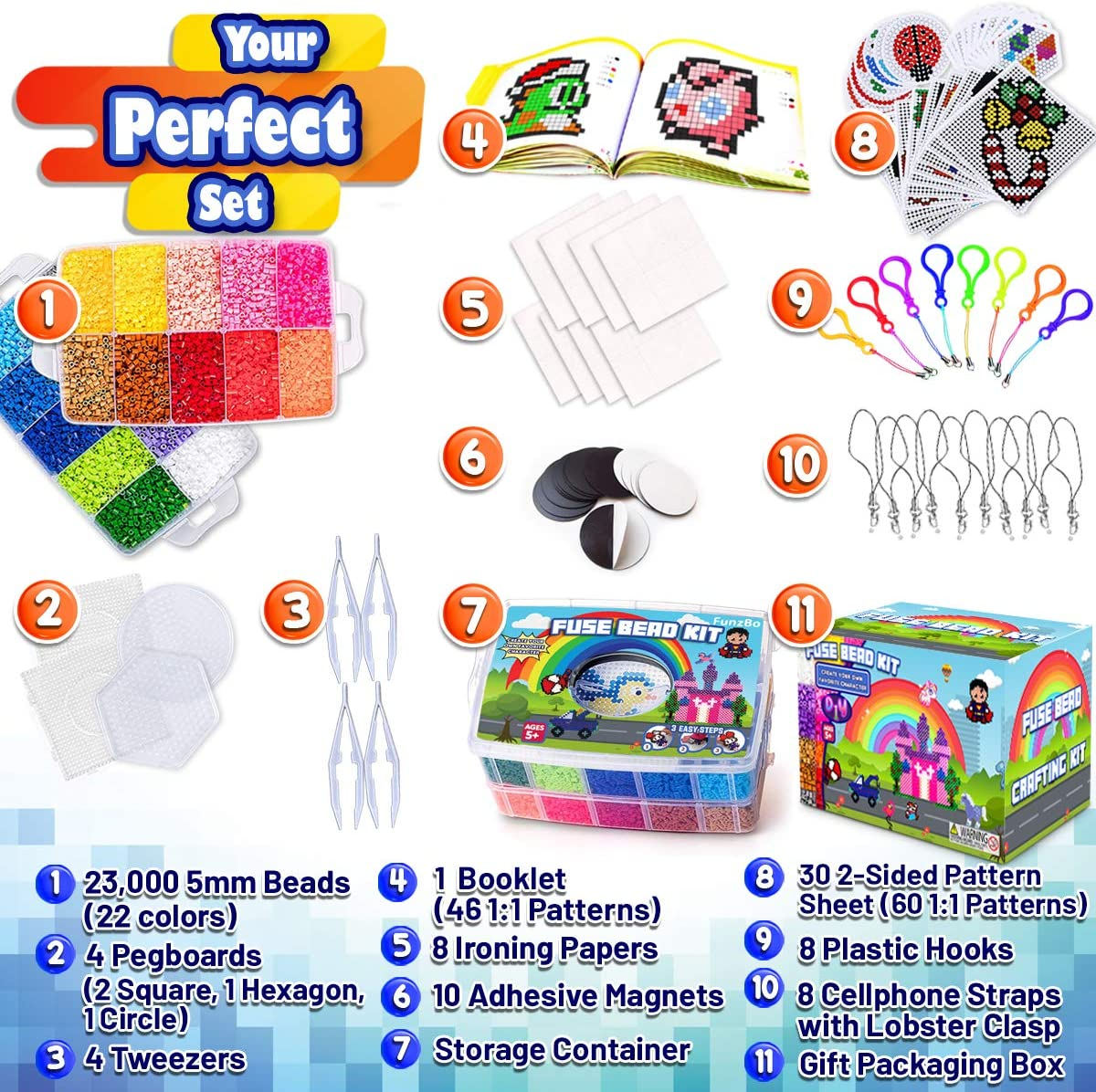 Mega FunzBo Fuse Beads for Kids Craft Art 106 Patterns Fusebead Melty Fusion Colored Perla Pearler Beads Arts and Crafts Pearler Set for Boys Girls Age 4 5 6 7 8 Year Old Classroom