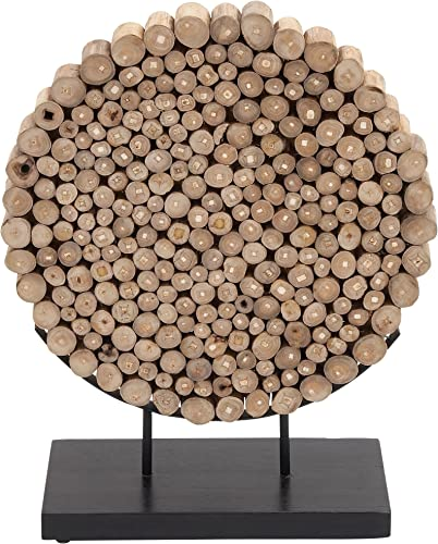 Deco 79 Teak Wood Round Decor, 19 by 24-Inch