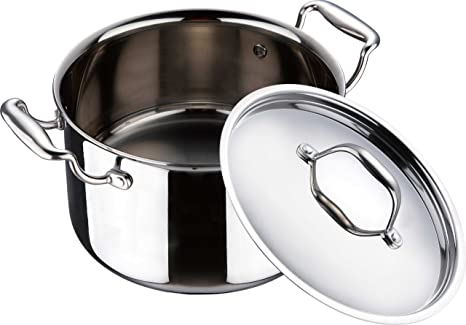 Bergner Argent Stainless Steel Casserole with Lid, 22cm Braising Casseroles at amazon