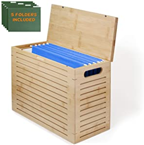 Premium Bamboo Desktop File Storage Organizer | Hanging File Box for Letter Size File Folders | Quality Hand-Crafted Product | Perfect for Home Office | Premium Office Goods (5 File Folders Included)