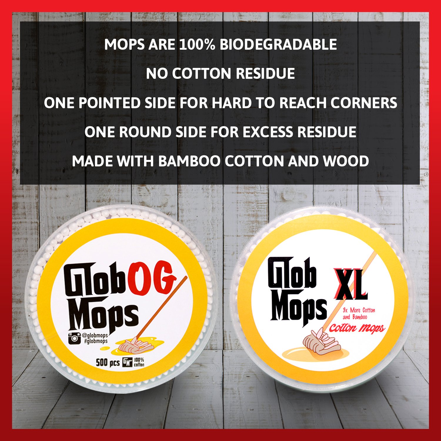 Glob Mops XL Cotton Swabs 2-Pack Bundle | Extra Absorbent | Eco-Friendly | 600 Total Mops