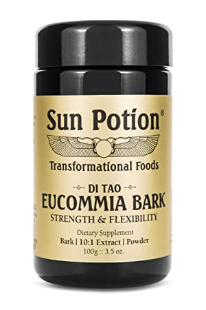 Eucommia Bark Powder by Sun Potion – Wildcrafted, Raw, Bio-Available Latex, Superfood and Taoist Herbal Supplement – Supports Kidneys, Joints, Connective Tissue – 10 1 Cold Water Extract – 70g Jar