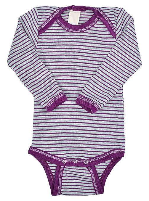 86fe8ac89 EcoAble Apparel Thermal Baby Onesie Bodysuit Pajama Long Sleeves Organic  Merino Wool Silk Blend Clothes (110-116cm/ 2-3 Years Maroon Grey Stripes):  ...