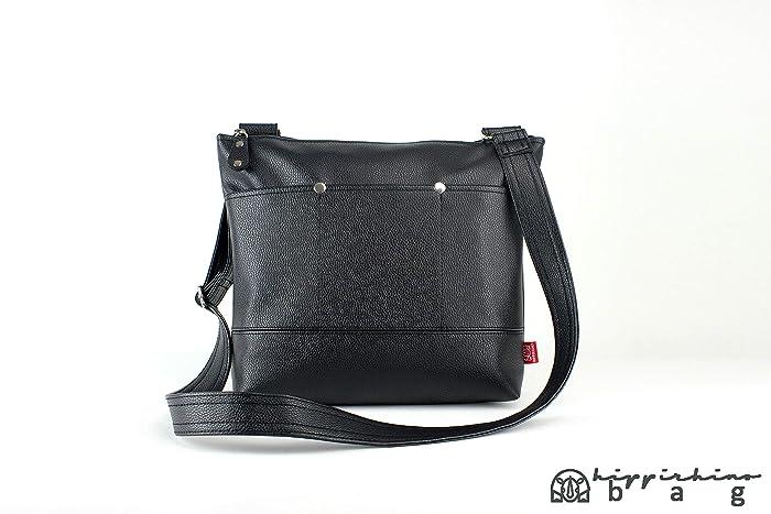b5112a040dafd3 Amazon.com: Vegan Faux Leather Black Messenger Bag Exterior Pocket Bag  Zippered Unisex Faux Leather Shoulder Bag Vintage Casual Eco Bag School Bag:  Handmade